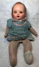 13� Antique Vintage Celluloid 1940's German Baby Doll W/ Cloth Body Original #L