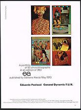 1970s Original Vintage Eduardo Paolozzi EA Editions Alecto Art Print Ad