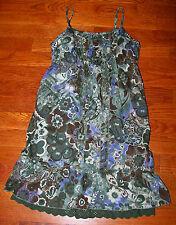 Girls THE CHILDREN'S PLACE Dark Green Blue Purple Ruffles Flower Dress Size 12