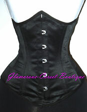 Black Corset Real Underbust Waist Training Steelboned Size Small - 24""
