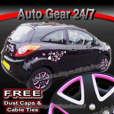 "15"" inch Ford Fiesta Matt Black & Pink Wheel Trims Hub Cap Covers+Dust Caps+Ties"