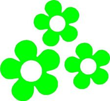 Retro 60's Flower Decals Stickers for Car or Van (Lime Green)