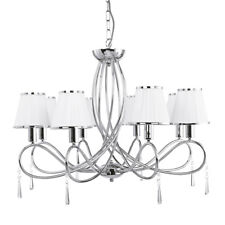 Searchlight Simplicity 8 Lights Chrome White Shades Ceiling Fitting Chandelier