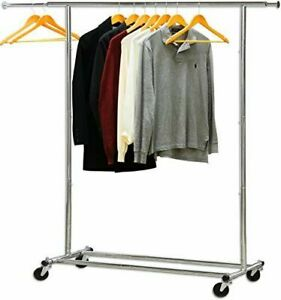 New Simple Houseware Heavy Duty Chrome Rolling Clothes Rack Free Shipping