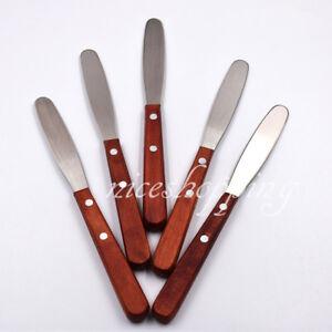 5 Pcs New Wooden Handle Dental Alginate & Metal Mixing Plaster Spatula 20cm
