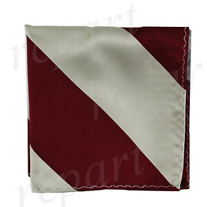 New men's polyester stripes pocket square hankie handkerchief burgundy gray