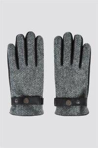 Racing Green Harris Tweed Grey Gloves BNWT. RRP £35. Free Postage. Medium.