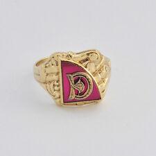 Vintage Rare 1940-50s 10k Solid Gold Lab Ruby Set INITIAL D Men' Ring  Sz. 10.75