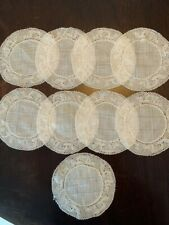 SET OF 9 ANTIQUE BELGIAN LINEN & LACE COASTERS or COCKTAIL ROUNDS -EXQUISITE-