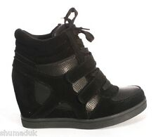 New Ladies Womens Black/Khaki Ankle Wedge Trainers