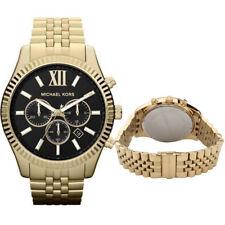 New Michael Kors MK8286 Lexington Gold-Tone Chronograph Black Dial Men's Watch