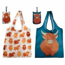 Eco Friendly Foldable Reusable Shopping Grocery Bag - Highland Coo Cow, Large
