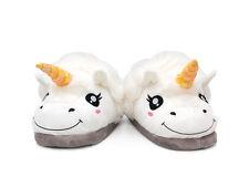 1x Fantasy Plush Slipper White Unicorn Slip On Adult Size Winter Indoor Slippers