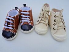 Lot 2 Baby Boys Crib Shoes Old Navy Fur Booties USA Material Dress SZ 3 6m 12m