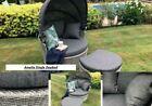 Rattan Outdoor Garden Day Bed Patio Sun Lounger - Aluminium, Grey, Thick Cushion