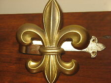 "Drapery Tie Hold Back Hardware Fleur de Lis 6.75"" L X 5.5"" W Metal Brass Color"