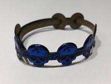 JUS - Pulsera de Piel en Calaveras en Azul - Blue Skulls Leather Bracelet