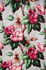 "VINTAGE MIDCENTURY GARDEN TREE PEONY BARKCLOTH CURTAINS, PAIR, 52"" LONG"
