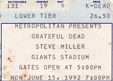 GRATEFUL DEAD TICKET STUB   06-15-1992  GIANTS STADIUM WITH STEVE MILLER