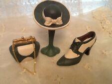 Vintage Decorative Shoe Purse Hat & Stand Green & White Paton Art Deco