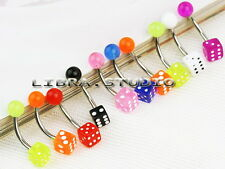 Wholesale 10x Mixed Color UV Dice Ball Navel Belly Button Ring Bars Piercing Hot
