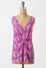 Anthropologie Leifnotes Pink $ Blue Silk Pollination Bee Tank Top Blou Size 4