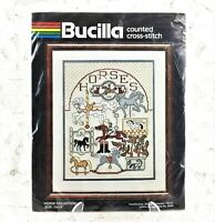 Bucilla - 14 Count Cross Stitch Kit - HORSE COLLECTION - 10x13 Inches