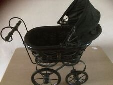Victorian style dolls pram,metal wheels turn,hood,ideal ornament or toy,for doll