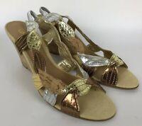 Beverly Feldman Gold Leaf Sandals  Wedge Heels Women 8.5 Cork Slip-On Strapback