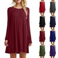 Womens Mini Dress Long Sweater Dress Long Sleeve Winter Jumper Pullover Tops ER