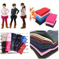 Kids Girls Children Winter Warm Fleece Leggings Stretchy Skinny Trousers Pants A