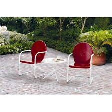 Vintage Metal Patio Set 3 Piece Outdoor Table Chairs Furniture Retro Bistro Red
