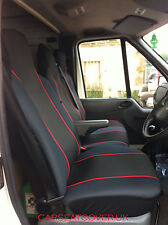 Nissan NV400 (11 on) HEAVY Duty RED Trim VAN Seat COVERS - Single + Double