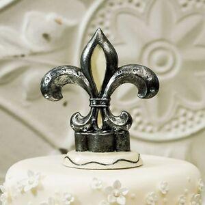 Decorative Fleur De Lis Poly Resin and Crystal Wedding Cake Topper