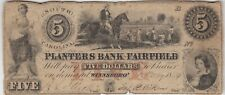 More details for 1854 planters bank fairfield five dollar banknote in a used condition