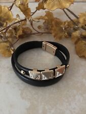 Brown Leather and Gold Rhinestone Magnetic Bracelet
