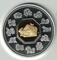 CANADA 2009 YEAR OF THE OX $15 .925 SILVER & GOLD PLATED CAMEO PROOF COIN