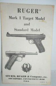 Sturm Ruger Mark I Target Model & Standard Model Owners Manual