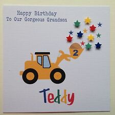 PERSONALISED Handmade BIRTHDAY Card SON GRANDSON NEPHEW BROTHER Digger 1 2 3  4