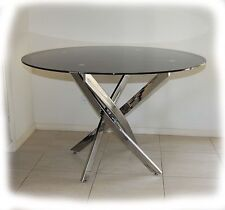Glasgow Chrome & Black Glass 1200 Round Dining Table - BRAND NEW