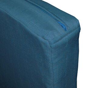 Qh04t Antique Blue Thick Cotton Blend 3D Box Sofa Seat Cushion Cover Custom Size
