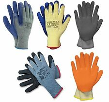 Latex Palm Dipped Grip Gloves Thermal Builders Gardening Mechanic Safety (US)