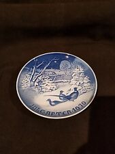 1970 B & G Cobalt White Jule Aften Xmas Plate Pheasants in Snow  (Free Shipping)