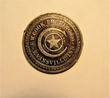 F.W. COOK BREWING co 1891 happy new year  token EVANSVILLE, INDIANA