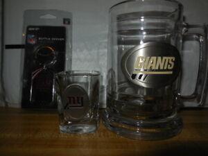 1 new york giants fine pewter soda mug 1 shot glass 1 bottle opener/ new