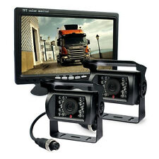"HD 7"" Rear View Monitor+2x Night Vision Backup Camera 4-Pin 33 FT For Truck RV"