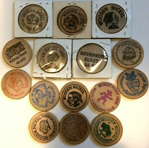 [COINS] Lot of 15 Wooden Nickels Collectibles Souvenirs - From All Over the U.S.