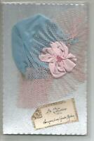 CARTE FANTAISIE  BONNET DE SAINTE CATHERINE  RUBANS DENTELLE COLLAGE
