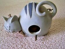 Adorable Grey/Blue Ceramic Cat Bird Feeder/Nest - Large - Quality - Unique
