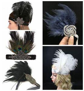 1920s Headpiece Feather Flapper Headband Great Gatsby Headdress Vintage UK